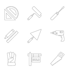 Construction icons set outline style vector image vector image