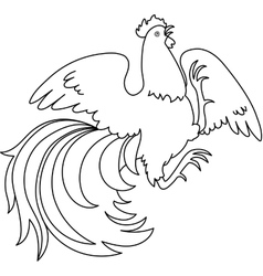 contour of a rooster vector image