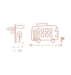 Double decked bus with the dotted line route vector