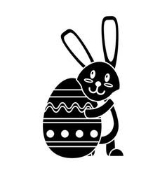 Easter rabbit hugging egg pictogram vector