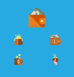 flat icon purse set of currency payment wallet vector image