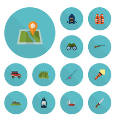 flat icons ship zoom suv and other vector image vector image