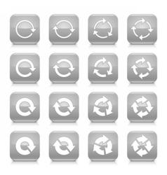 Gray arrow rotation sign square icon web button vector
