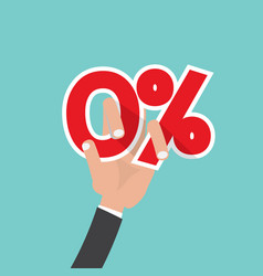 Hand catch a zero percent interest symbol vector