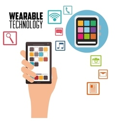 hand holding smartphone wearable technology vector image
