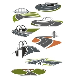 Icons of roads with bridges vector image vector image