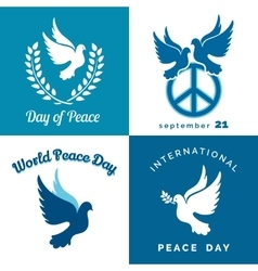 International Peace Day Typographic Design Set vector image