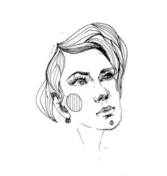 line portrait of young beautiful woman vector image vector image
