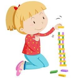 Little girl stacking wooden blocks vector
