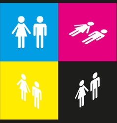 Male and female sign white icon with vector
