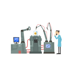 Male scientist character and robotic arms working vector