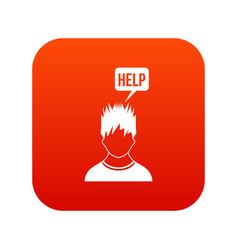 man needs help icon digital red vector image