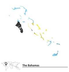 Map of Bahamas with flag vector image