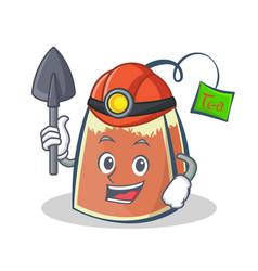 Miner tea bag character cartoon art vector