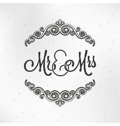 Mister and miss wedding logo design background vector