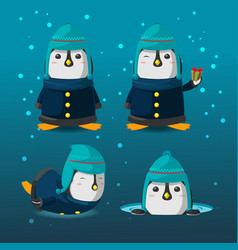penguin christmas cartoon character set vector image vector image