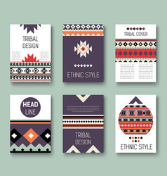 set of geometric abstract colorful flyers ethnic vector image