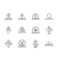 Simple black line street fountains icons vector