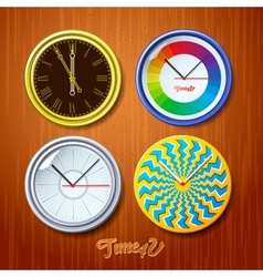 World time watches on wooden wall vector image vector image