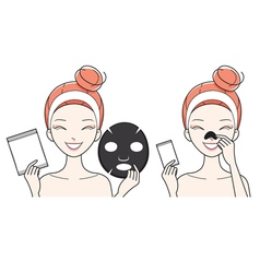 Young woman with facial nose mask sheet vector