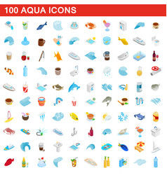 100 aqua icons set isometric 3d style vector