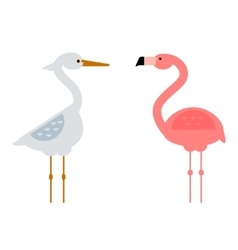 Cool stork and flamingo vector
