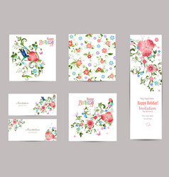 Fine collection of greeting cards with fancy vector