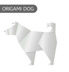 Paper dog in origami style icon 2018 new vector