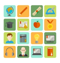 E-learning flat icon set vector