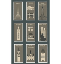 Stamps with famous cities vector image