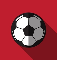 Flat football icon over red background vector