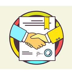 Color of handshake with contract signed and vector