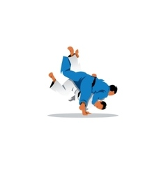 Judo sign two judoka fighting among themselves vector