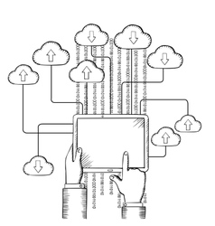 Tablet connected to cloud data storage vector image