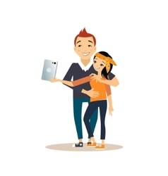 Young couple taking a selfie vector