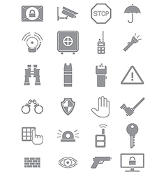 Gray guard icons set vector