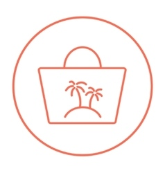 Beach bag line icon vector
