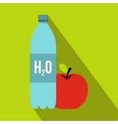 Bottle of water and red apple icon flat style vector image