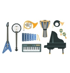 Music instruments realistic drawings set vector
