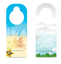 Door hanger hello summer hand lettering vector
