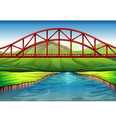 A bridge above the river vector