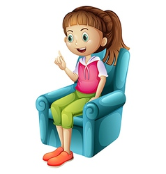 A smiling young girl sitting vector image