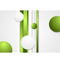 Abstract green stripes and circles background vector