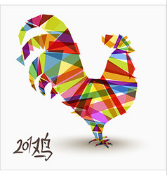 Chinese new year of rooster abstract color design vector