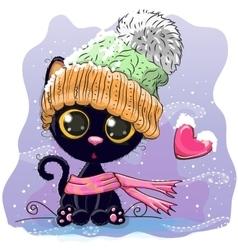 Cute kitten in a knitted cap vector