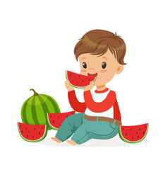 cute little boy character sitting on the floor and vector image vector image