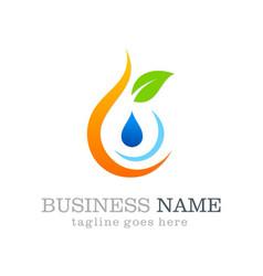 Eco water drop logo design vector