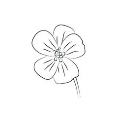 Geranium flower simple black lined icon vector