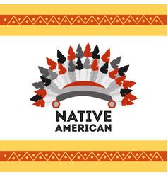 Headwear native american with feathers accessory vector