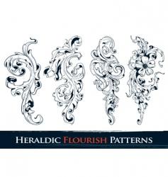 Heraldic flourish patterns vector